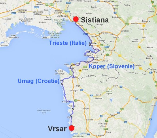 Carte Italie Croatie Slovenie.132 Vrsar Croatie Slovenie Sistiana Visogliano Italie