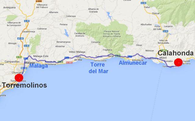 Carte Espagne Andalousie Almunecar.Pepito Velo 02 Espagne Etapes 06 A 22